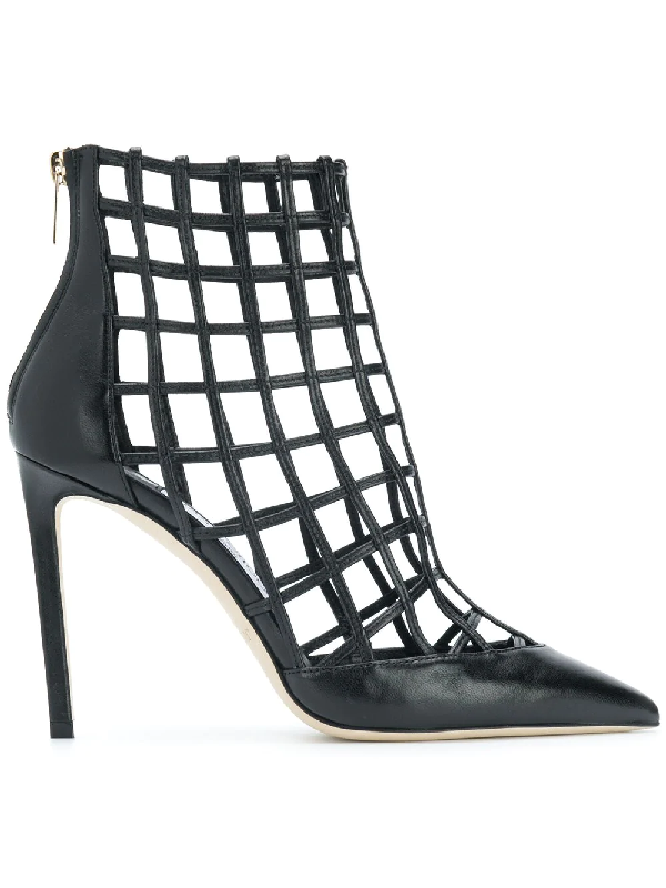 Jimmy Choo Women's Sheldon 100 Caged Leather High-heel Booties In Black