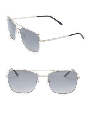 Cartier Santos Rectangular Sunglasses In Silver