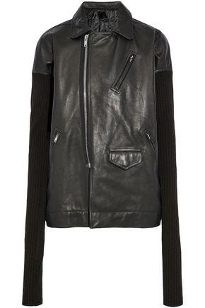Rick Owens Ribbed Knit-paneled Leather Biker Jacket In Black