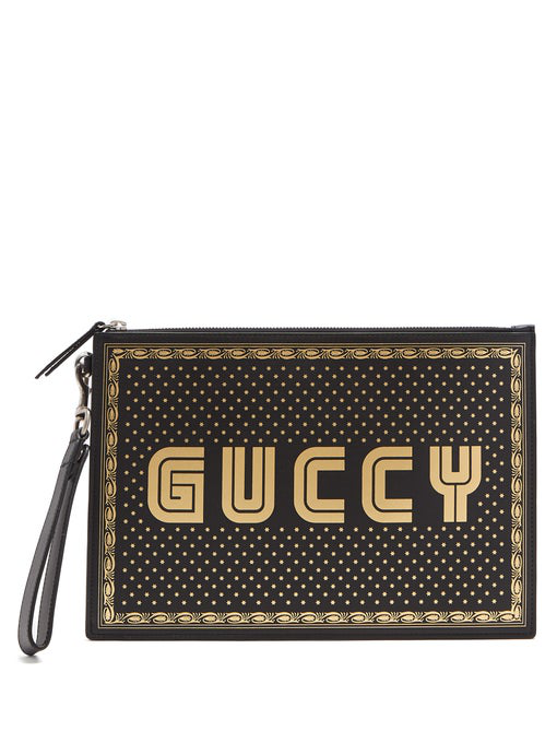 Gucci Printed Leather Pouch In Black Multi