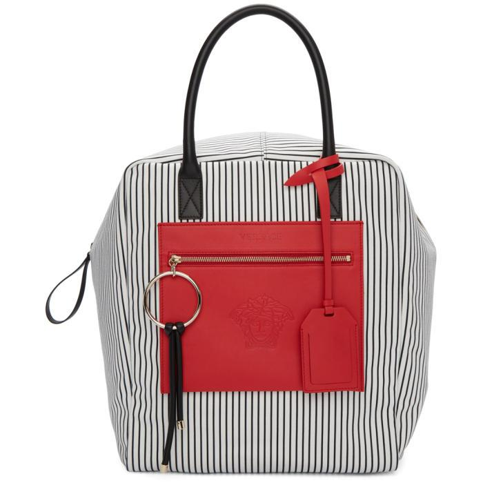 1ed45c1db6ef8 Versace Black   Red Large Canvas Striped Daydreamer Tote