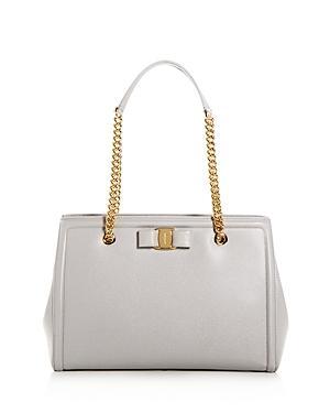 Salvatore Ferragamo Melike Medium Leather Shoulder Bag In Pale Gray/gold