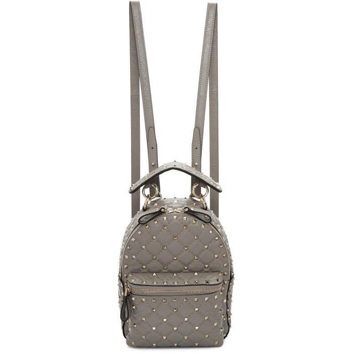 Valentino Garavani Grey  Mini Quilted Rockstud Backpack