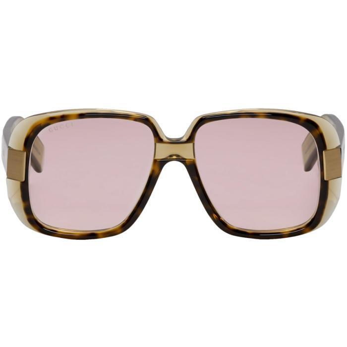 32d30f0bb9f8 Gucci Tortoiseshell Oversized Cruise Square Sunglasses In 003 Havana ...