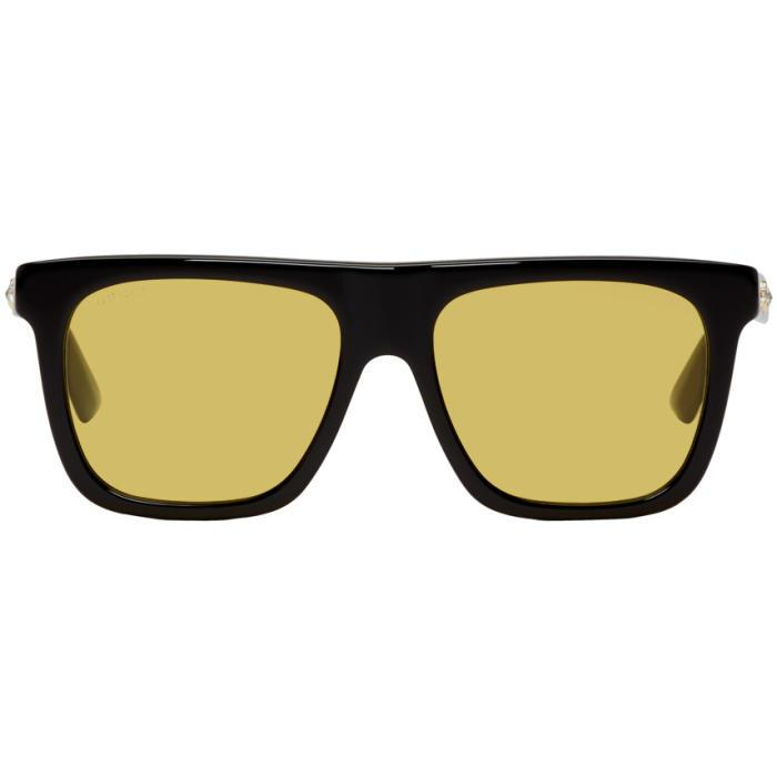 Gucci Black And Yellow Crystal Sunglasses In 1172 Blk/yl