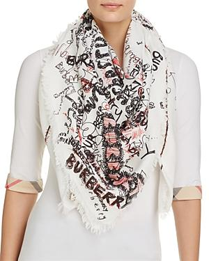 Burberry Sketchbook Texture Square Scarf In White/black/bright Red