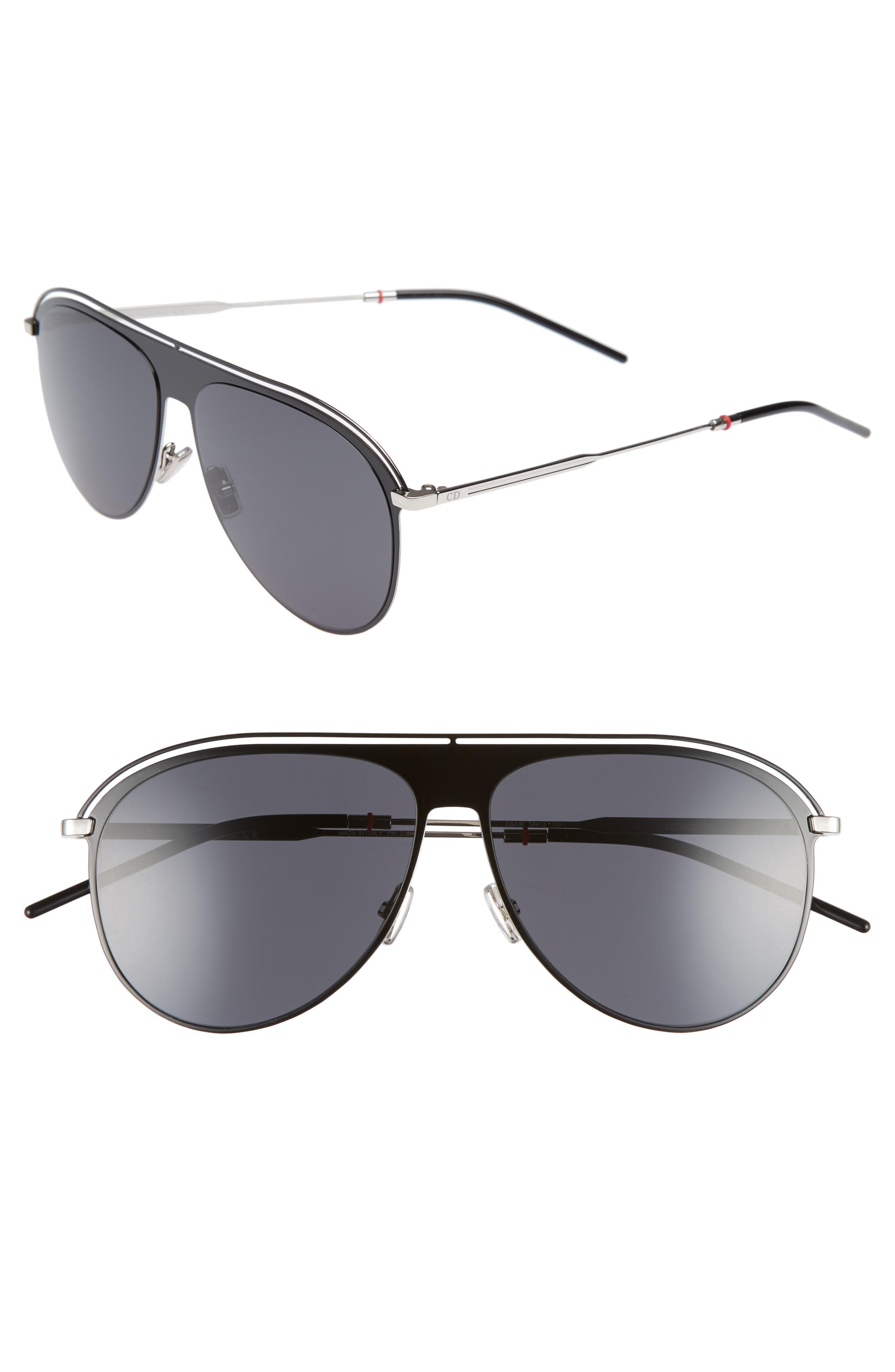 d9c2ead25310 Dior Homme Men s Ultrathin Metal Aviator Pilot Sunglasses In Black Palladium