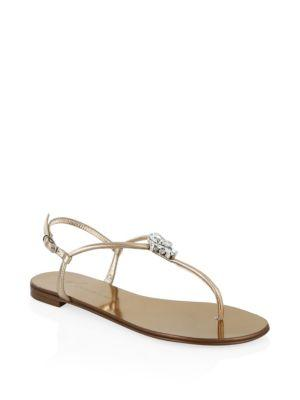 Giuseppe Zanotti Nuvorock Leather Thong Sandals In Gold