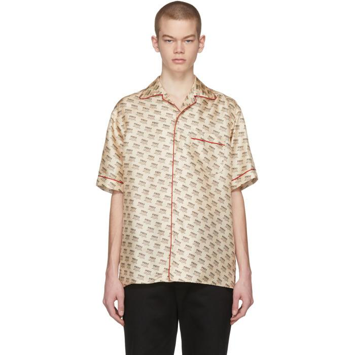 1d20b4351e1 Gucci Off-White All-Over Logo Stamp Shirt