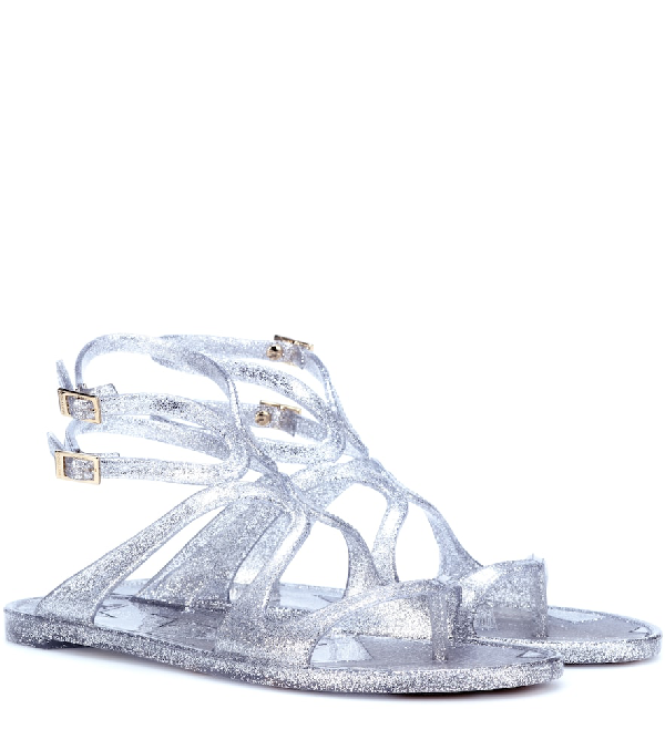 85be8eeda767 Jimmy Choo Lance Jelly Silver Glitter Rubber Jelly Sandals
