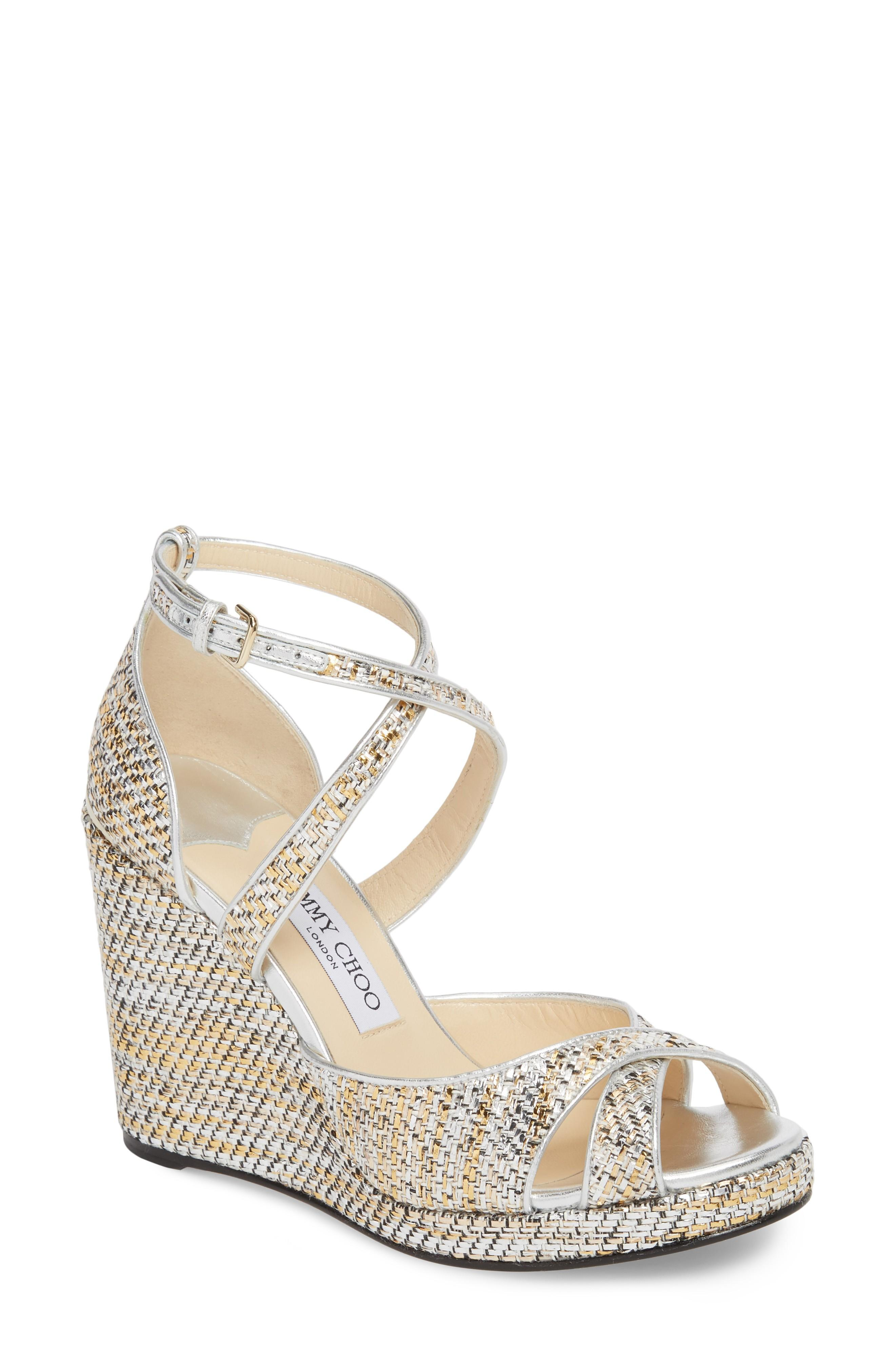 9335f1582311 Jimmy Choo Alanah 105 Woven Metallic Wedge Sandals In Silver