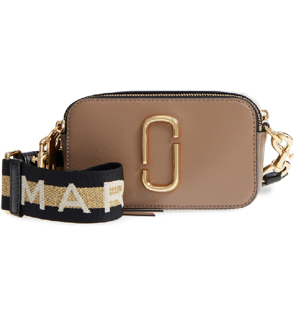 Marc Jacobs Snapshot Small Leather Crossbody Bag In Neutrals