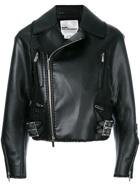 Comme Des GarÇons Cropped Laced Hem Biker Jacket In Black