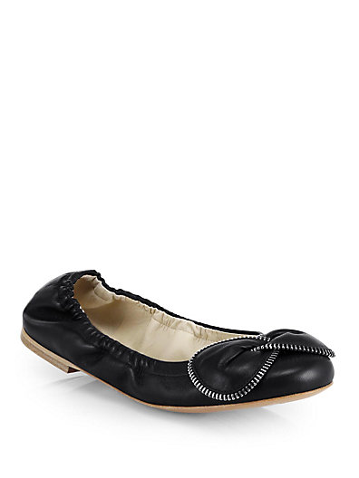 See By ChloÉ Clara Chain Leather Ballet Flats In Black