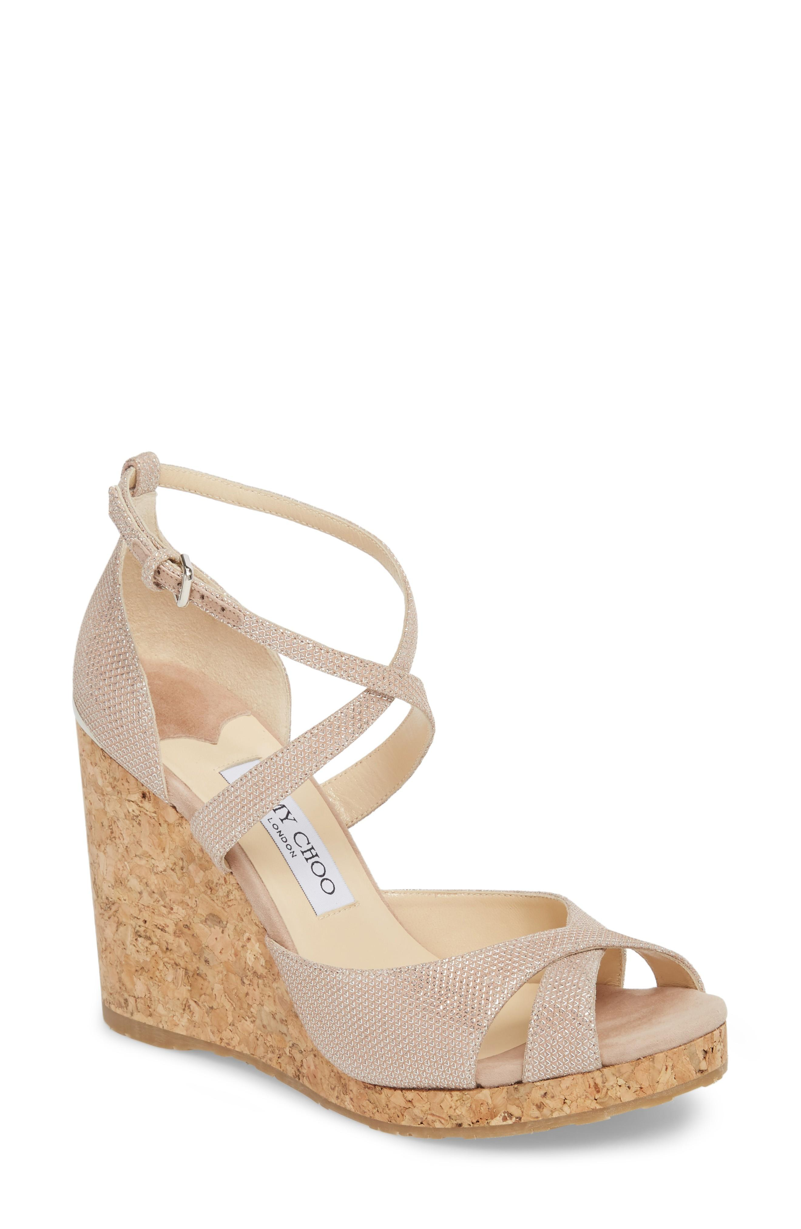 0489183f9fb Espadrille-style detailing at the cork wedge and crisscrossing straps make  this sandal an instant summer classic. Style Name  Jimmy Choo Alanah  Espadrille ...