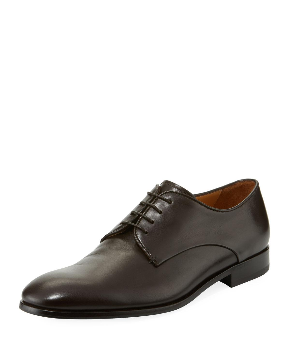 Giorgio Armani Smooth Leather Dress Shoe In Brown