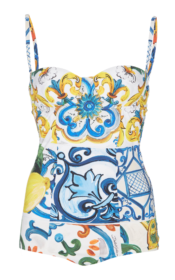 95a3914da5 Dolce & Gabbana Fruits & Floral Sweetheart One-Piece Swimsuit | ModeSens