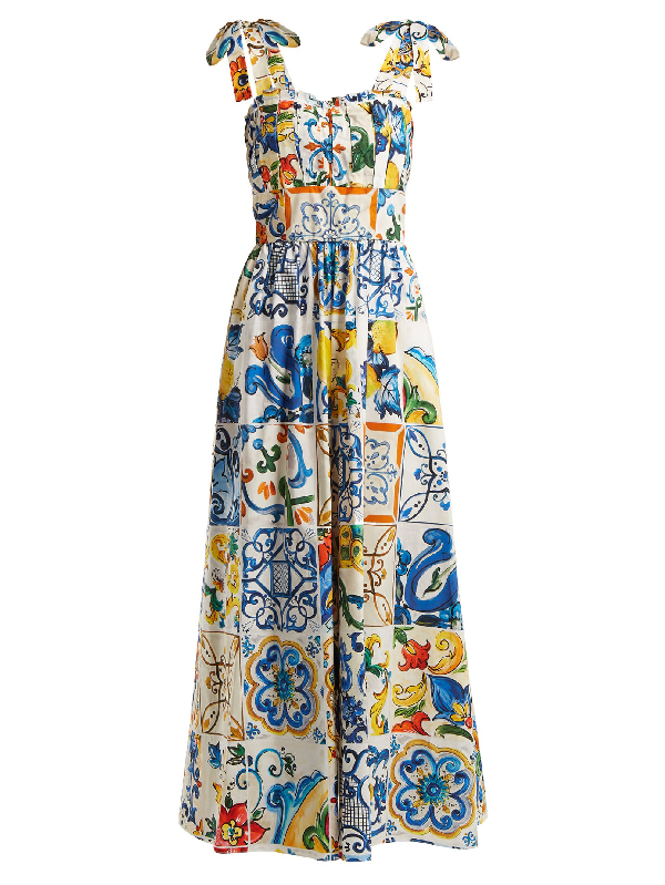 4ca03d1e37d Sleeveless Tile-Print Fit-And-Flare Long Dress W/ Ties in White