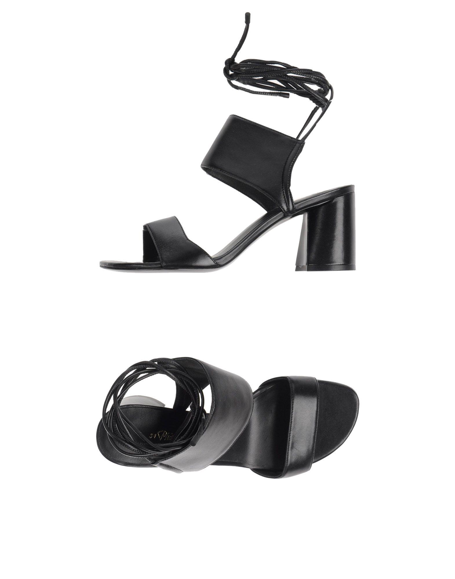 3.1 PHILLIP LIM Sandals. Laces Solid color Round toeline Leather sole  Geometric heel Leather lining Contains non-textile parts of animal origin. e8b310776