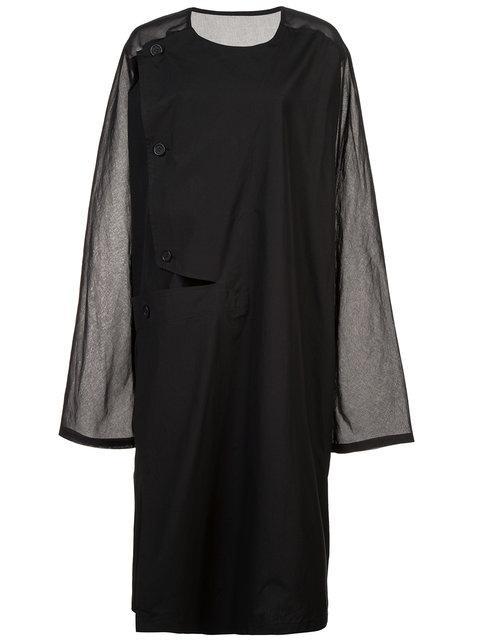 Yohji Yamamoto Collarless Shirt Coat - Black