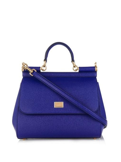 Dolce & Gabbana Medium Sicily Dauphine Leather Bag, Blue