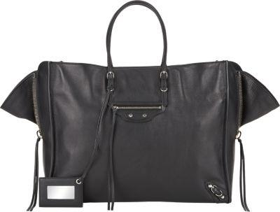Balenciaga Papier A4 Zip-Around Leather Shoulder Bag In Noir
