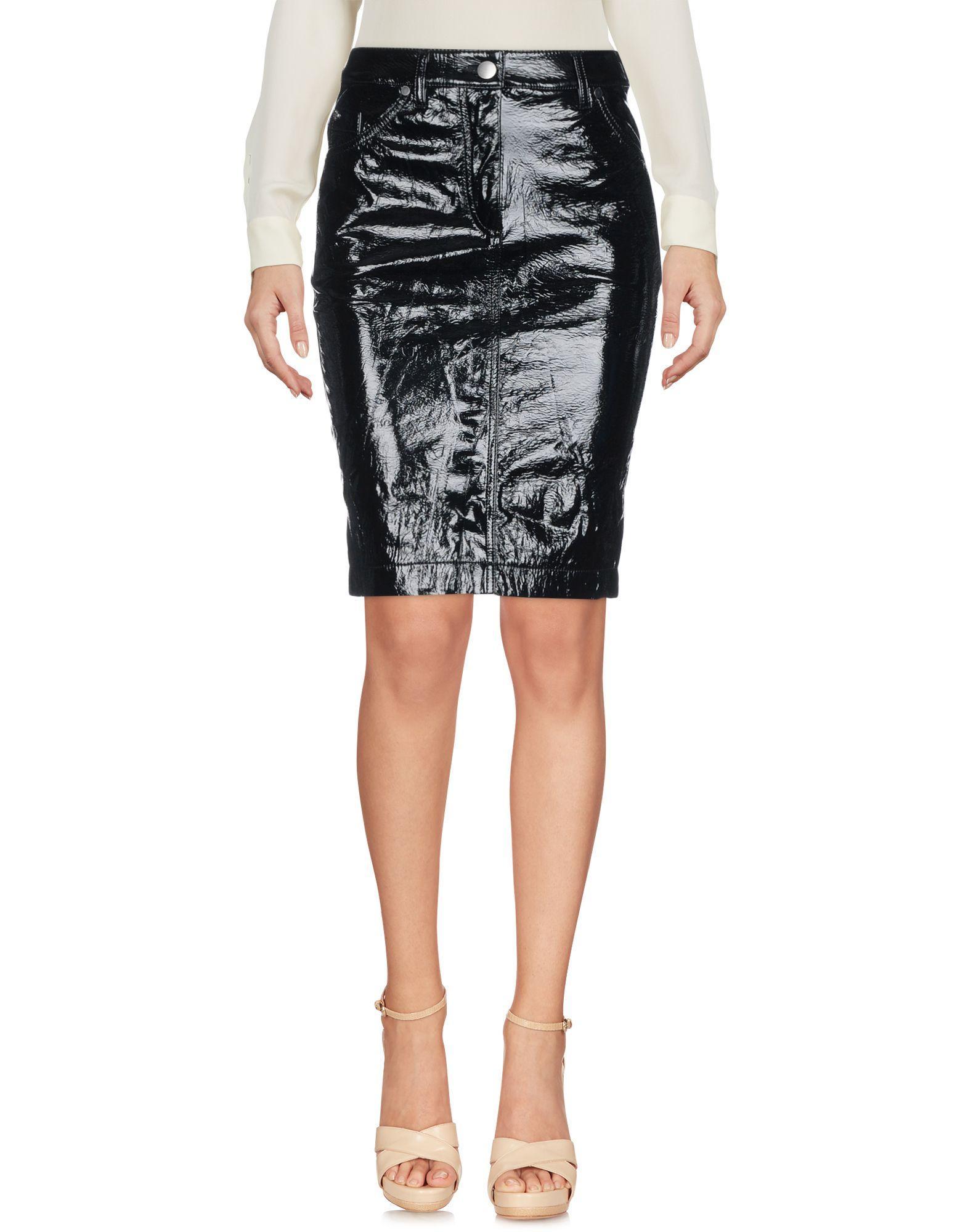 Wanda Nylon Knee Length Skirt In Black