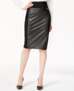 Calvin Klein Faux-Leather Panel Pencil Skirt In Black