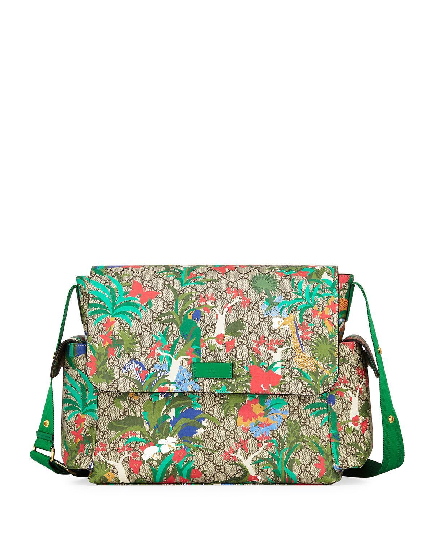 13753ba25a1d47 Gucci Borsa Mamma Gg Supreme Canvas Jungle-Print Diaper Bag W/ Changing Pad  In