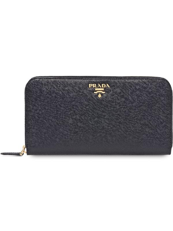 bbdc3a2dcb96 Prada Saffiano Metal Oro Zip-Around Wallet, Black (Nero) | ModeSens
