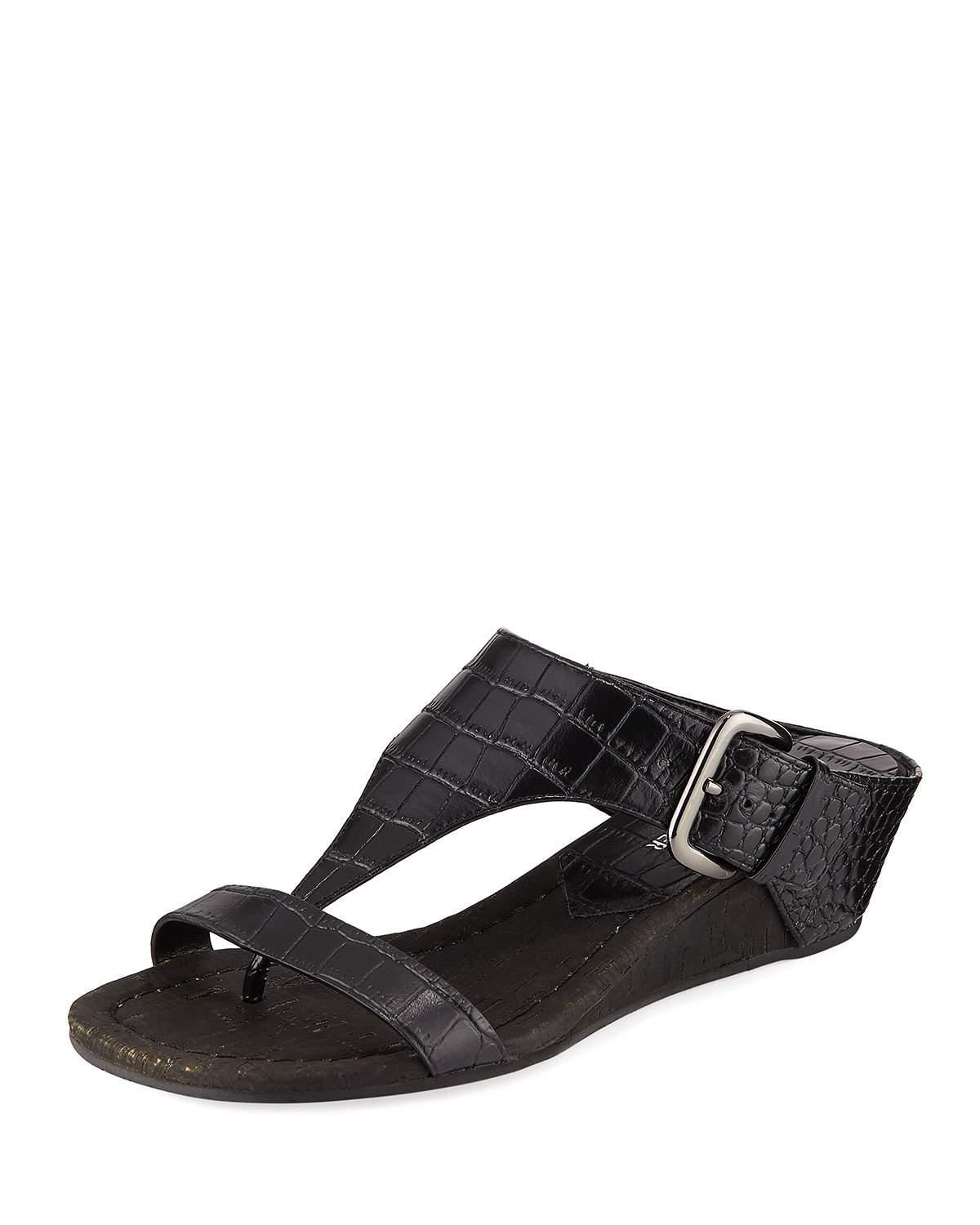 Donald J Pliner Dylan Crocodile-Embossed Wedge Sandal In Black