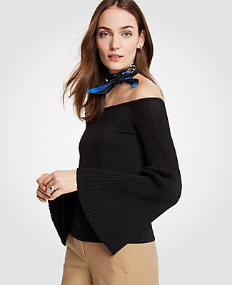 3b9a162ed89 Ann Taylor Petite Pleat Flare Sleeve Off The Shoulder Sweater In ...
