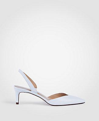 5bc91f967b3f Ann Taylor Elora Leather Slingback Pumps In White