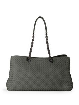 Bottega Veneta Intrecciato Double Chain Tote Bag, Gray In Grey