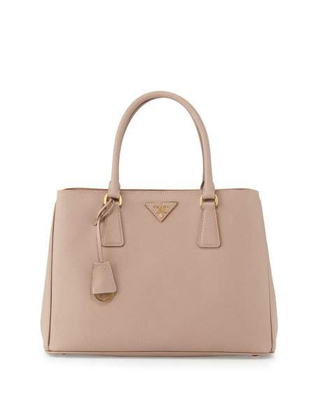 78abc37e677de8 Prada Saffiano Lux Small Double-Zip Tote Bag, Blush (Cammeo) | ModeSens
