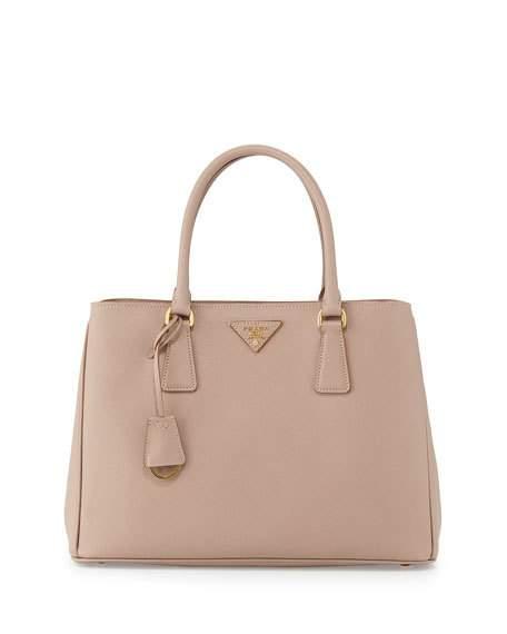 10e0ff241a15 Prada Saffiano Lux Small Double-Zip Tote Bag, Blush (Cammeo) | ModeSens