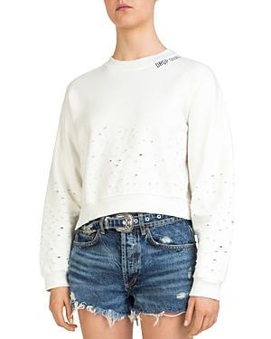 The Kooples Cropped Distressed Sweatshirt In Ecru