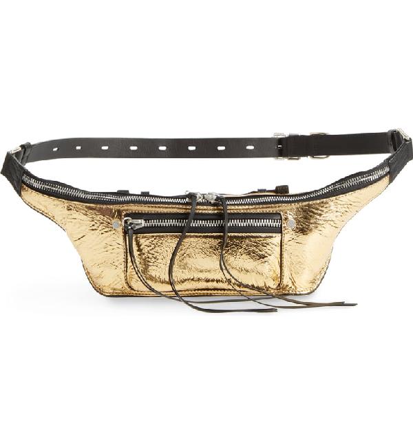 b521ab84179 Rag   Bone Elliot Metallic Leather Fanny Pack Belt Bag In Gold ...