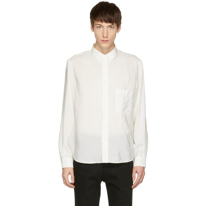 Lemaire White One-Pocket Shirt In 001.Chalk