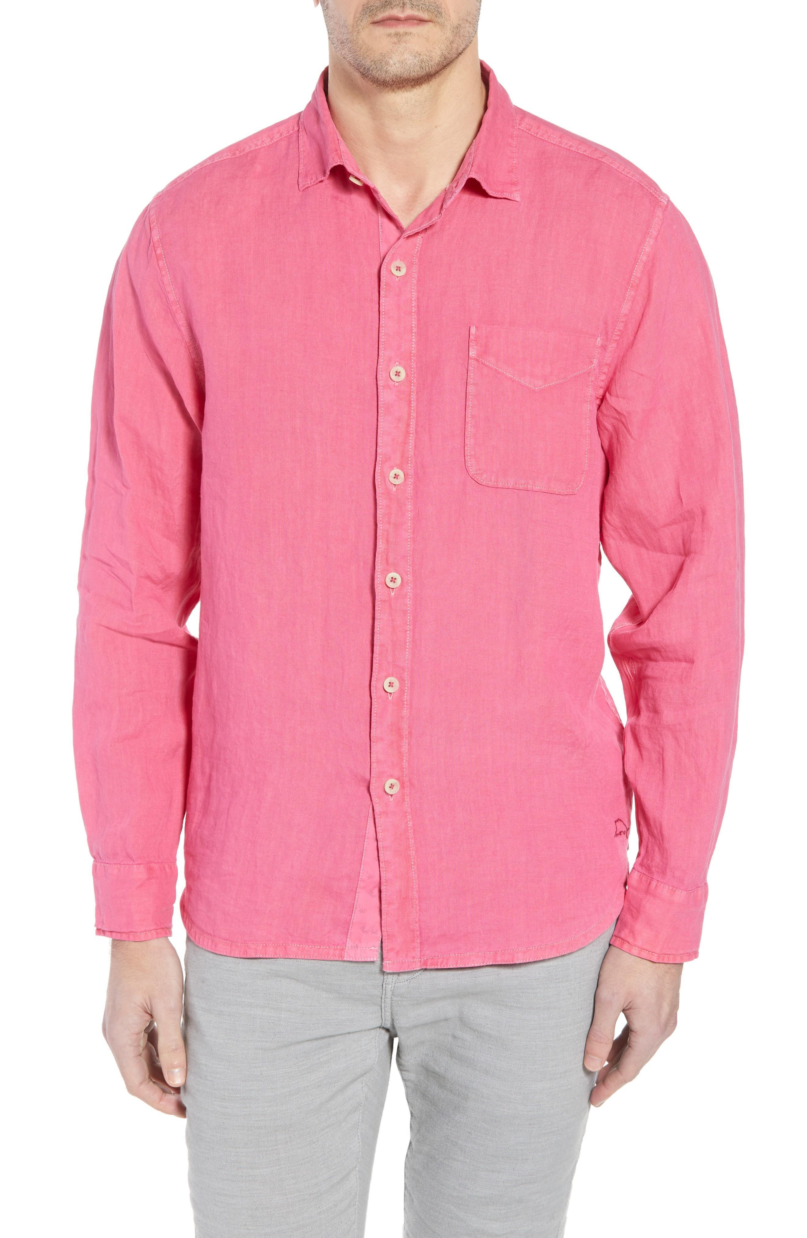 a924d1d6 Tommy Bahama Seaspray Breezer Standard Fit Linen Sport Shirt In Bright Rose