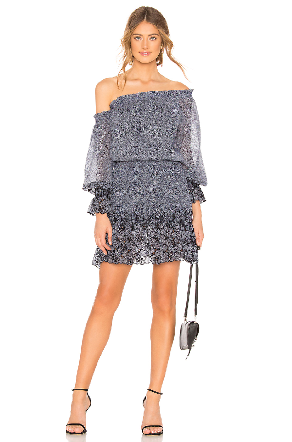 Alexis Royce One-Shoulder Embroidered Mini Dress In Navy