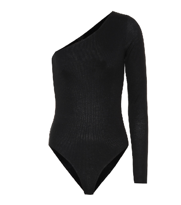 ff3078376e Atm Anthony Thomas Melillo Ribbed One-Shoulder Bodysuit In Black ...
