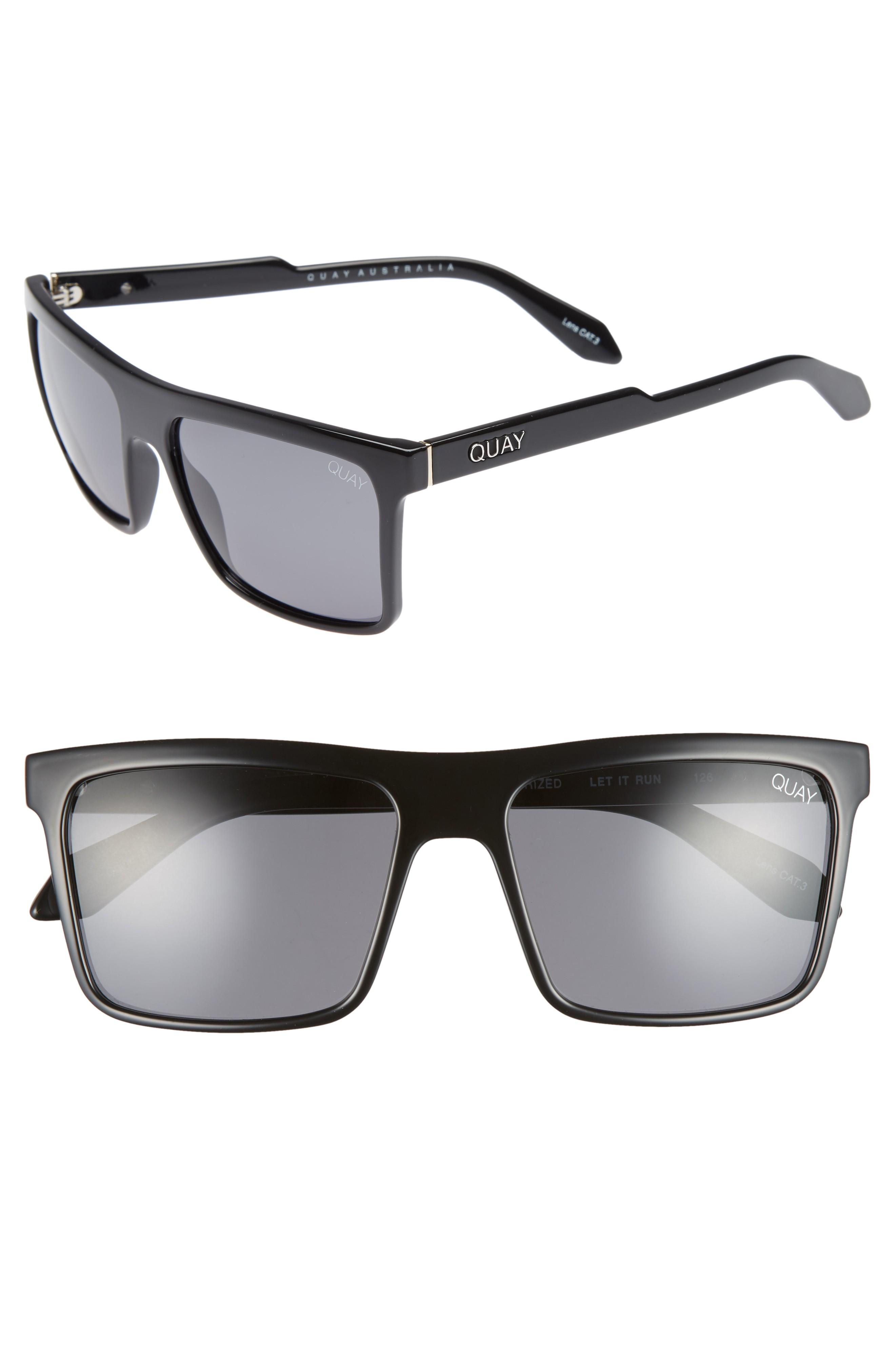 d0f9caccd80 ... the stylish squared-off shape of these contemporary shades with smoky  polarized lenses. Style Name  Quay Australia Let It Run 57Mm Polarized  Sunglasses.