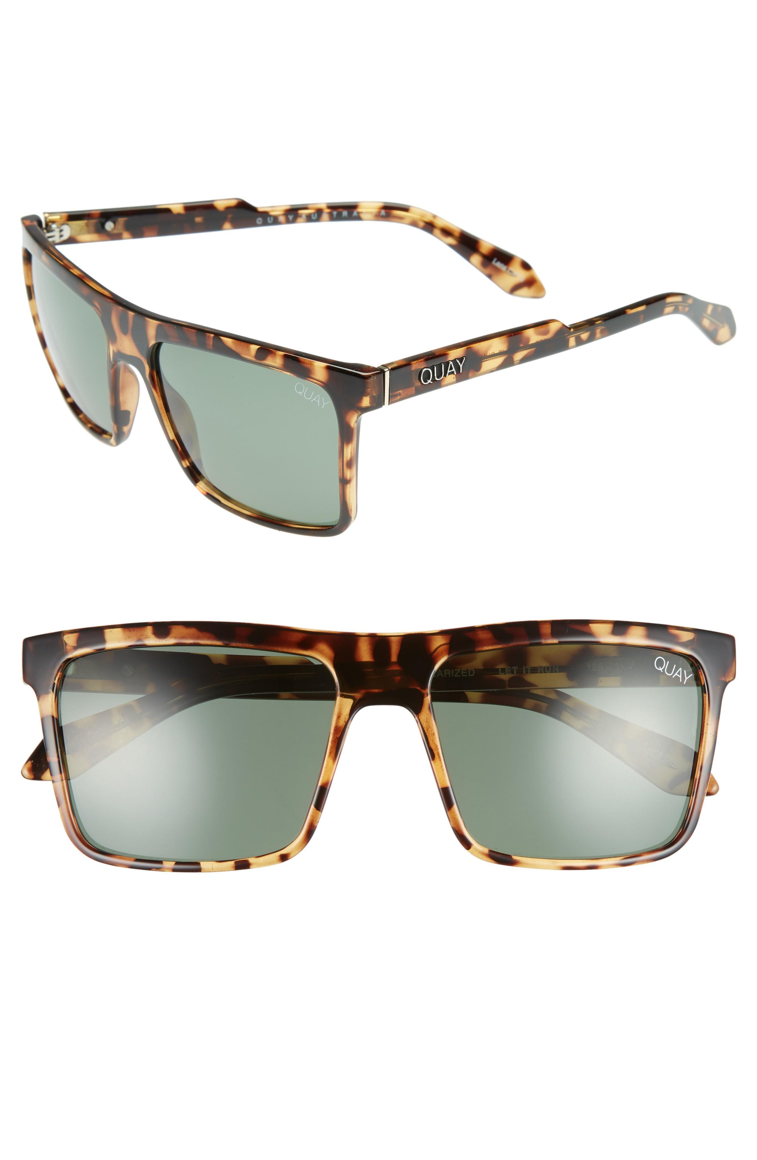 58fc8291ad02f Quay Let It Run 57Mm Polarized Sunglasses In Tort   Green Lens ...