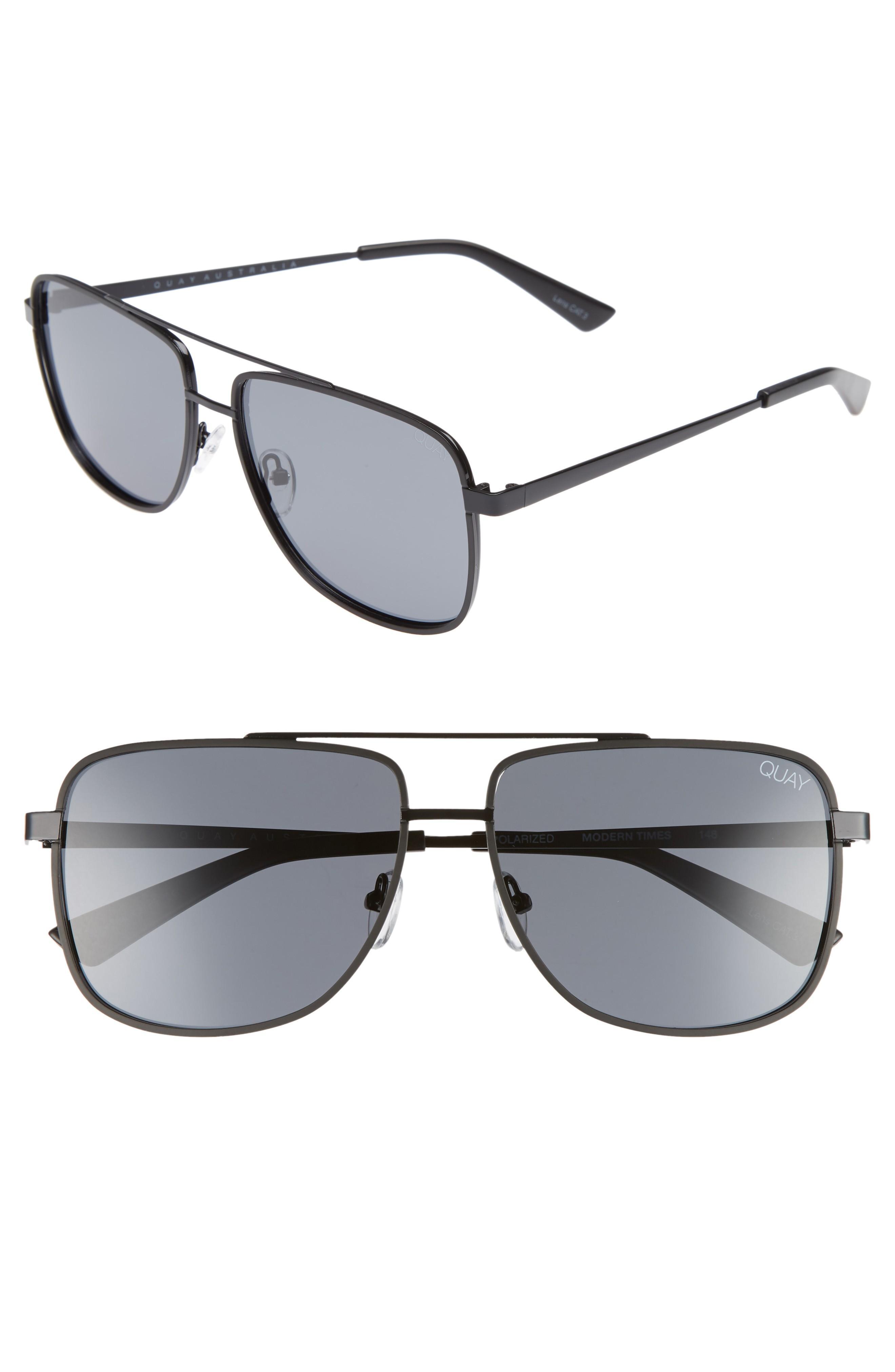 e0d974a601 Quay Modern Times 57Mm Polarized Aviator Sunglasses In Black   Smoke ...