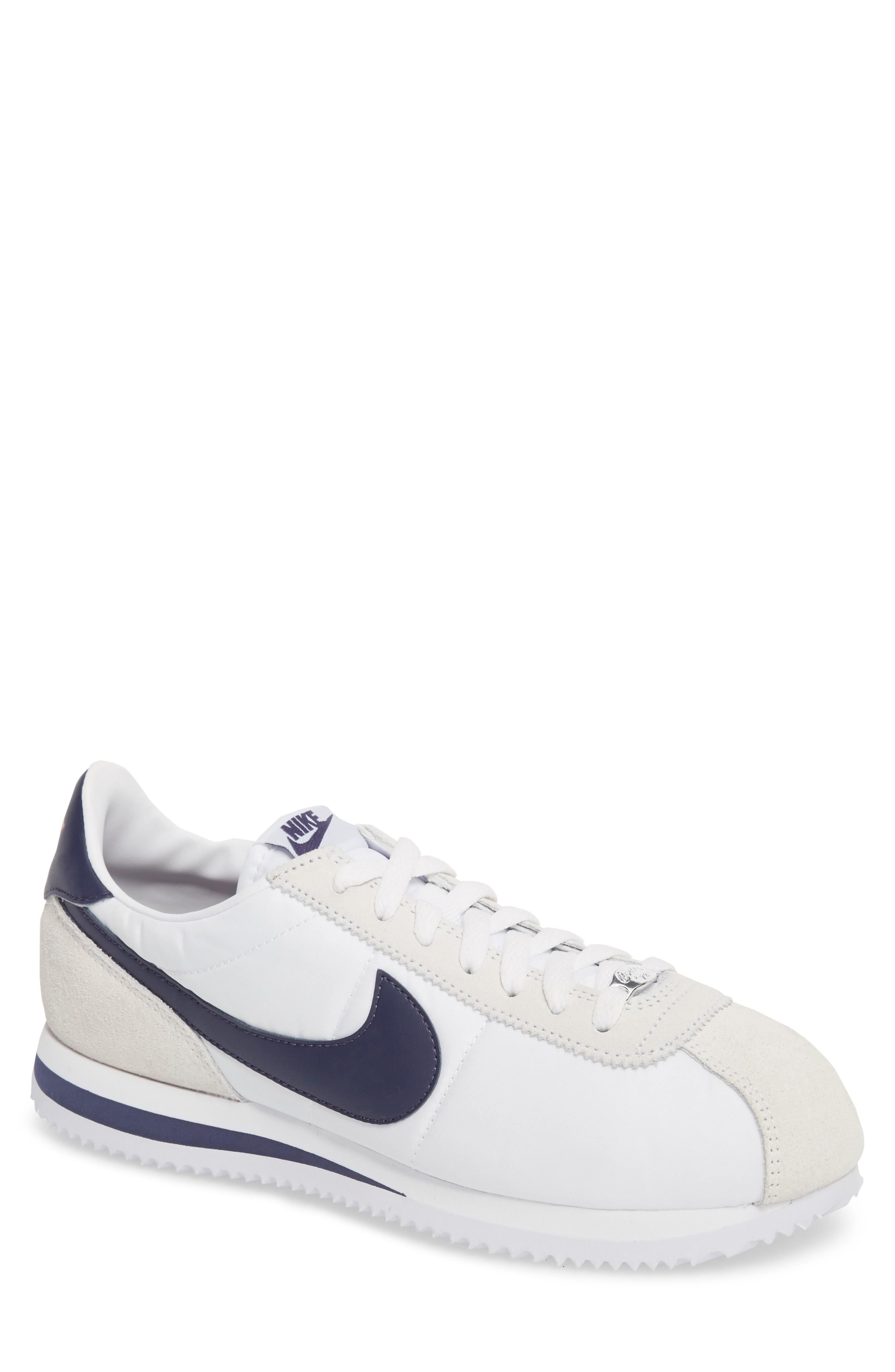b5b5118b Nike Cortez Basic Nylon Sneaker In White/ Indigo/ Habanero Red ...
