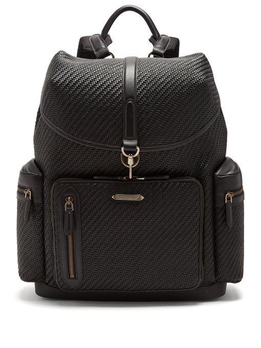 Ermenegildo Zegna Pelle Tessuta Leather Backpack In Black