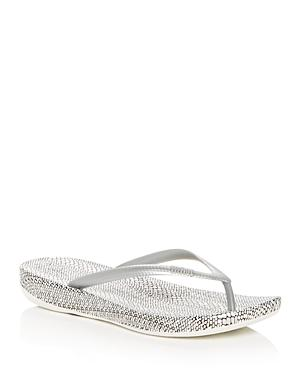 ae30d8b1f Fitflop Iqushion(Tm) Snakeprint Flip Flop In Silver Mix Leather ...