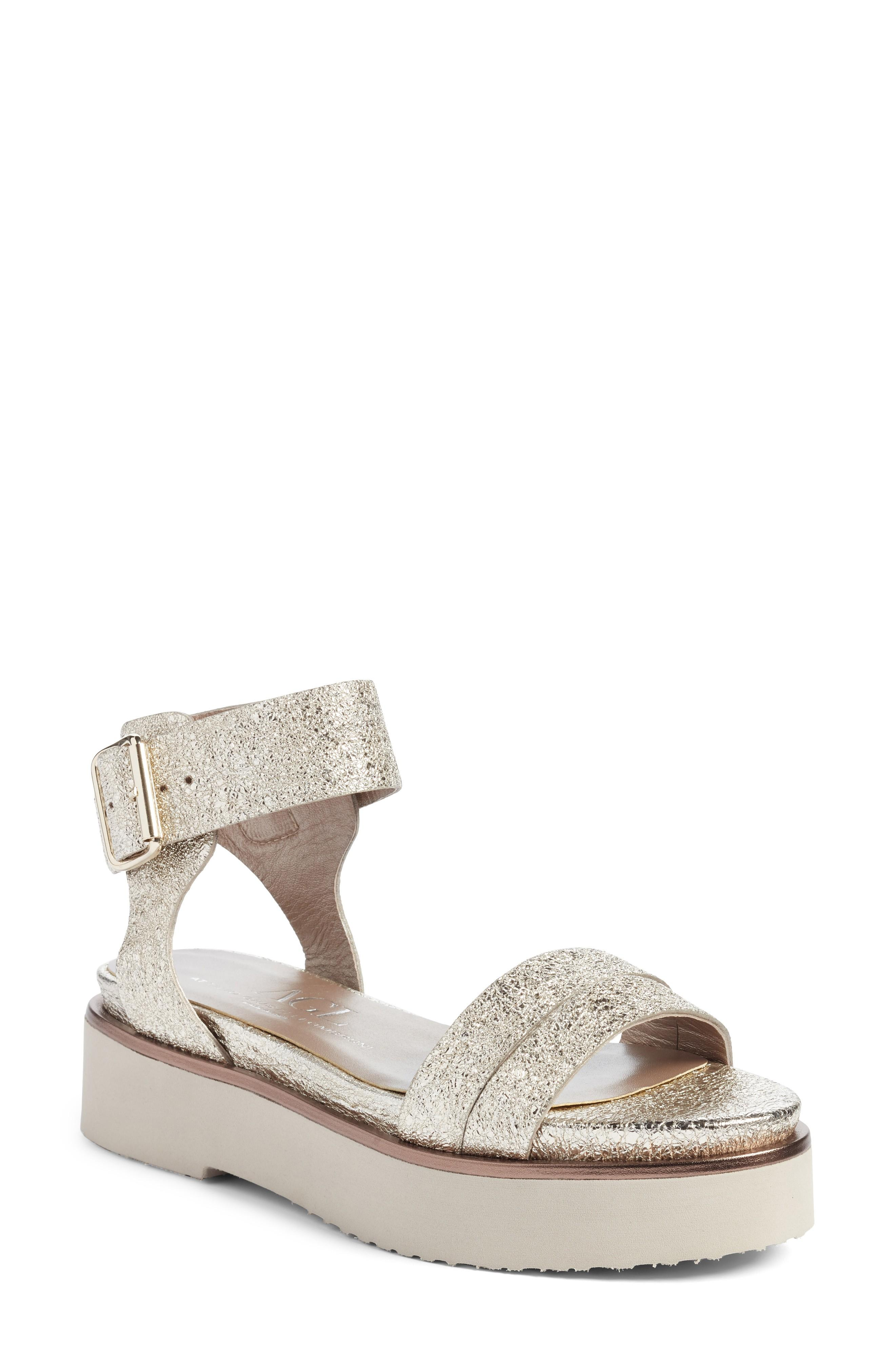 2e7e004d48e Agl Attilio Giusti Leombruni Ankle Strap Sandal In Golden Leather ...