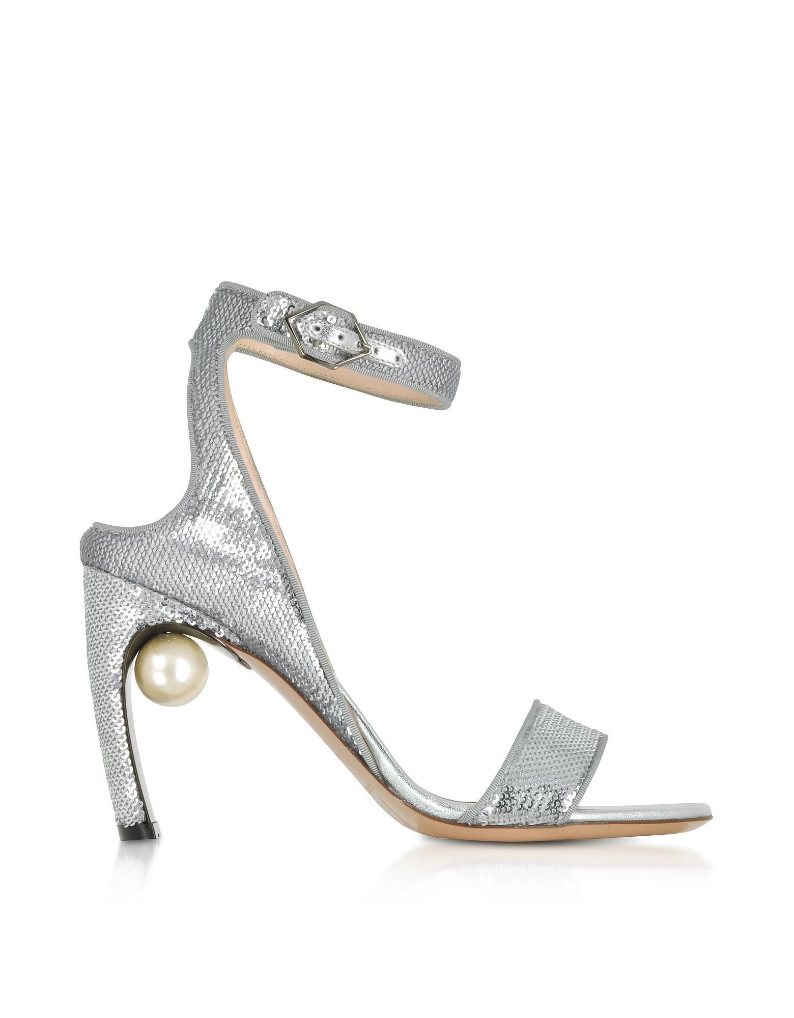 2c96f82eef8f Nicholas Kirkwood Silver Sequins 90Mm Lola Pearl Sandals